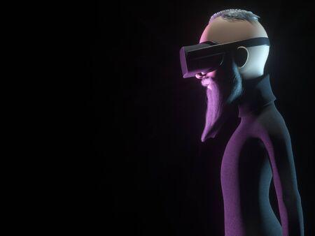 Stilisierter Hippie-Charakter in der Wiedergabe des Sturzhelms der virtuellen Realität oder der VR-Gläser 3d