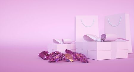 Jewelry store building, present box and paper bag, gems and diamonds. 3d rendering Standard-Bild