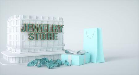 Juweliergeschäft, Präsentkarton und Papiertüte, Edelsteine ??und Diamanten. 3D-Rendering