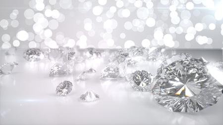 Viele Diamanten auf glänzender Oberfläche. 3d übertragen