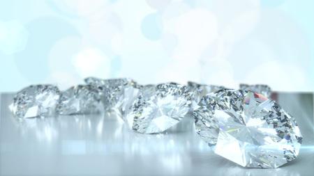 Many diamonds on glossy surface. 3d render Standard-Bild