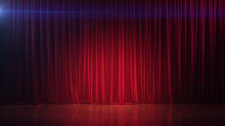 Donker leeg podium met rijk rood gordijn. 3d render