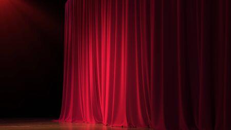 Dunkle leere Bühne mit reichen roten Vorhang. 3d übertragen