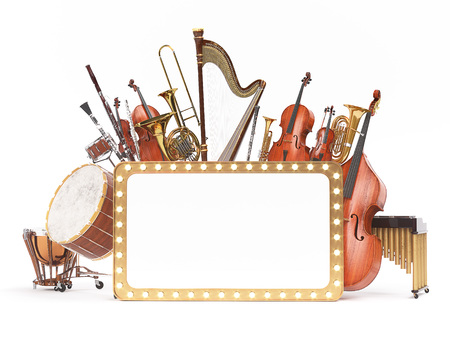 Rappresentazione 3D degli strumenti musicali dell'orchestra Archivio Fotografico - 91197517