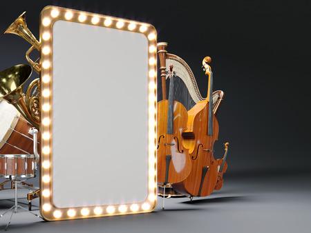 Orchester Musikinstrumente 3D-Rendering Standard-Bild