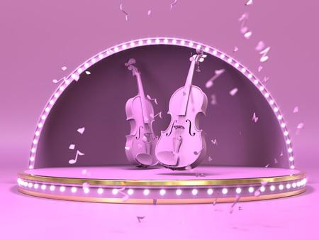Pink violine on estrada stage concept. 3d render