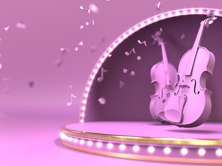 Pink violine on estrada stage concept. 3d render