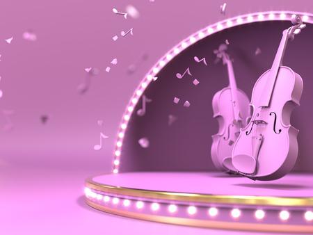 Violine rosa en el concepto de estrada etapa. Render 3d Foto de archivo - 91362533