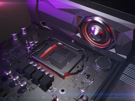 Computer motherboard cpu socket close up . 3d rendering Standard-Bild