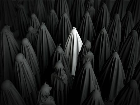 Moslemische Frauen, die schwarze Burkas zusammen stehen tragen. 3d übertragen