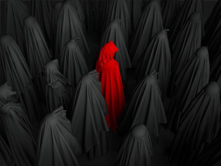 Muslim women wearing black burkas standing together. 3d render