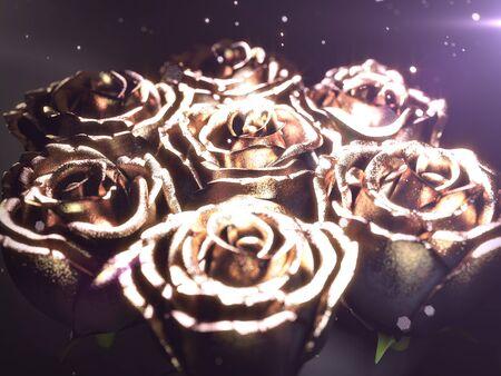 Gold black flower rose on a black background . 3d render Standard-Bild