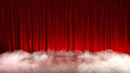 Dark empty stage with rich red curtain and smoke. 3d render