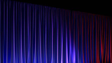 Dark empty stage with rich blue velvet curtains. 3d render