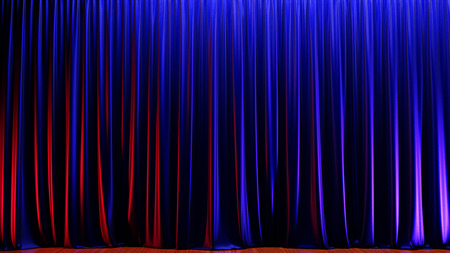 Dark empty stage with rich blue velvet curtains. 3d render