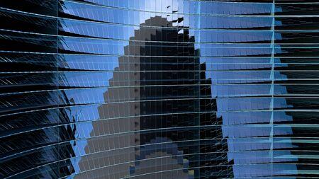 Moderne blauwe glazen metalen structuur met sinusgolfrotatie. 3D render