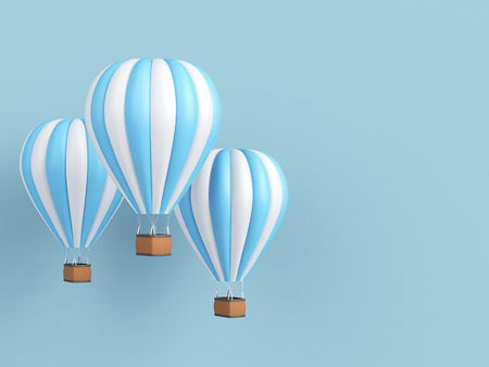 Hot air balloon white and blue stripes, colorful aerostat on blue background. 3d render Stock Photo