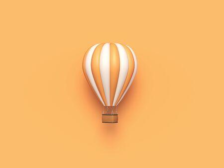 Hot air balloon orange white stripes, colorful aerostat on orange background. 3d render