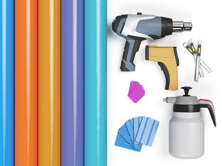 Car wrapping tools isolated on white, 3d illustration
