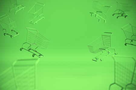 Concept of shopping cart trolley on green background with some copy space. 3d illustration