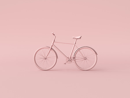 Ckassic vintage Bike mono color concept on pink color background copy space. 3d illustration