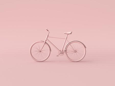 Ckassic vintage Bike mono color concept on pink color background copy space. 3d illustration