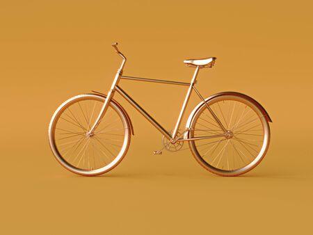 Ckassic vintage Bike mono color concept on orange color background copy space. 3d illustration