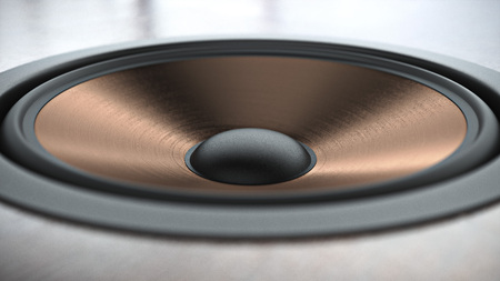 Multimedia copper finish speaker system with different speakers closeup over black background. 3d render
