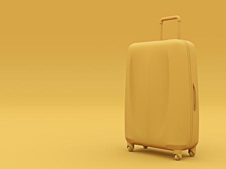Set of orange color suitcases mono colored concept copyspace. 3d render. Stock Photo