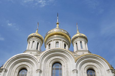 Russian orthodox church monastery in sunny weather with gold elements Stok Fotoğraf