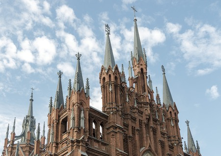 Old gothic Catholic cathedral church in Moscow. Standard-Bild - 101174210