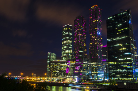 Moscow international business center Moscow City at night. Urban landscape metropolis night with skyscrapers. Standard-Bild - 101537148