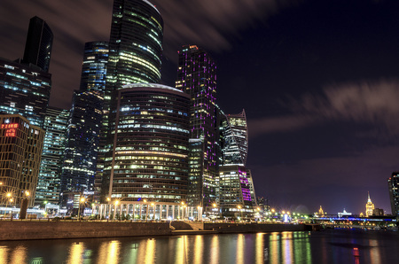 Moscow international business center Moscow City at night. Urban landscape metropolis night with skyscrapers. Imagens