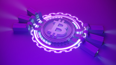 bitcoin crypto currency mining farm background with copy space. Glowing financial concept 3d illustration Standard-Bild - 103815806