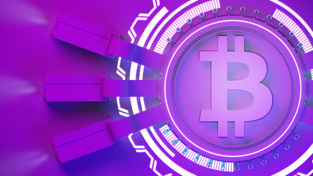 bitcoin crypto currency mining farm background with copy space. Glowing financial concept 3d illustration Standard-Bild - 103815807