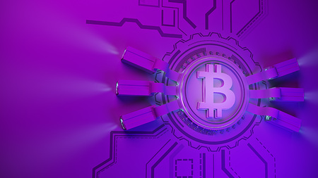 bitcoin crypto currency mining farm background with copy space. Glowing financial concept 3d illustration