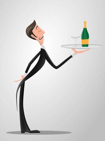 Französischer oder italienischer Kellner, der die Uniform trägt, die eine Schüssel mit Champagnerflaschenzeichentrickfigur hält. Flache Cartoon-Person des Spaßes.