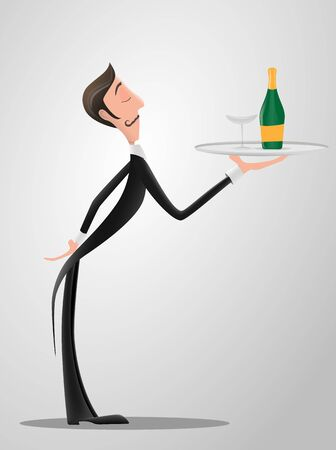 French or Italian Waiter wearing the uniform holding a dish of champaign bottle cartoon character. Fun flat cartoon person.