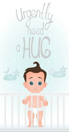 Sad standing baby boy is in the crib need a hug. Flat design.