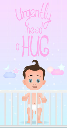 Happy standing baby boy is in the crib need a hug. Flat design. Lettering Ilustração