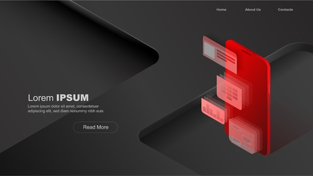 Concepts mobile usage, personal data. Header for website with smartphone and modules concept on black and red background. Design for Landing Page. 3d isometric flat design. Vector illustration Standard-Bild - 110408378