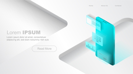Concepts mobile usage, personal data. Header for website with smartphone and modules concept on white and green background. Design for Landing Page. 3d isometric flat design. Vector illustration Standard-Bild - 110408379