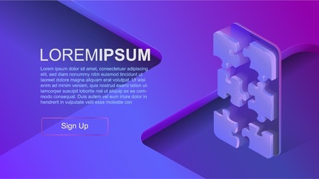 Concepts mobile usage, personal data. Header for website with smartphone and puzzle concept on blue violet background. Design for Landing Page. 3d isometric flat design. Vector illustration Standard-Bild - 110408381