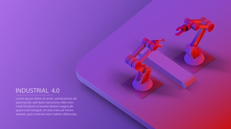 Isometric automated robot arms and conveyor belt. Smart automated robotic arms. Modern logistics center in ultra violet colors. Vector 3d isometric illustration ultraviolet background Standard-Bild - 110261617