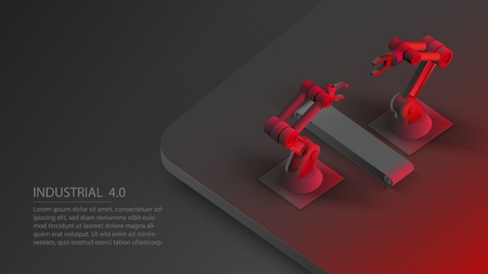 Isometric automated robot arms and conveyor belt. Smart automated robotic arms. Modern logistics center in black red colors. Vector 3d isometric illustration black background Vettoriali