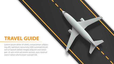 Air travel banner with plane on runway strip - vacation and travel concept design. Banner with airplane and runway strip. Vector illustration. Standard-Bild - 109695948