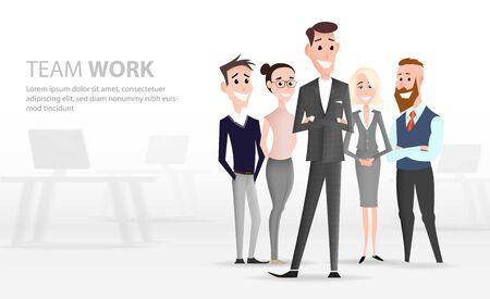 Cartoon office workers team character. Business landing page Standard-Bild - 127977585