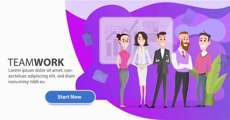 Cartoon office workers team character. Business landing page