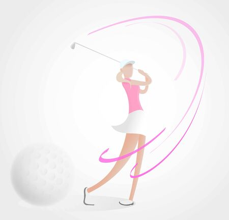golf poster with a female golf player hitting ball isolated on white with depth of field