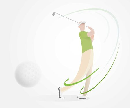golf poster with a male golf player hitting ball isolated on white with depth of field Illustration